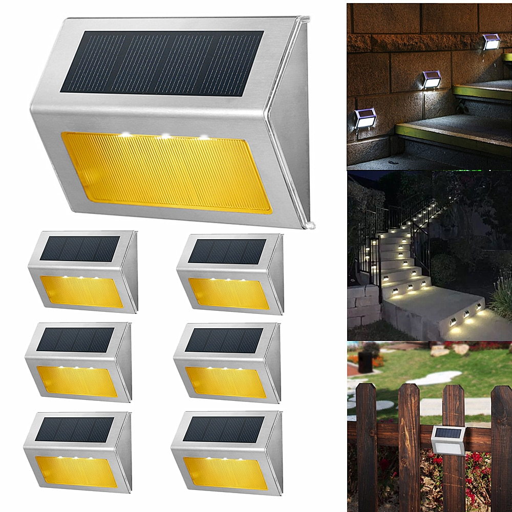 Уличный светодиодный водонепроницаемый фонарик на солнечной батарее для лестницы, декоративное освещение для балкона, сада, двора, ступени...