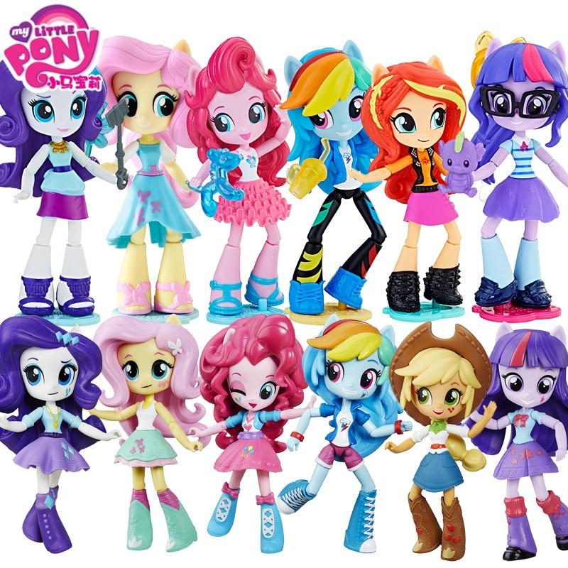 Genuine12cm bonecas my little pony, brinquedos para meninas, arco-íris, pvc, figura de ação, anime, bebê, brinquedos para crianças, my little pony aniversário