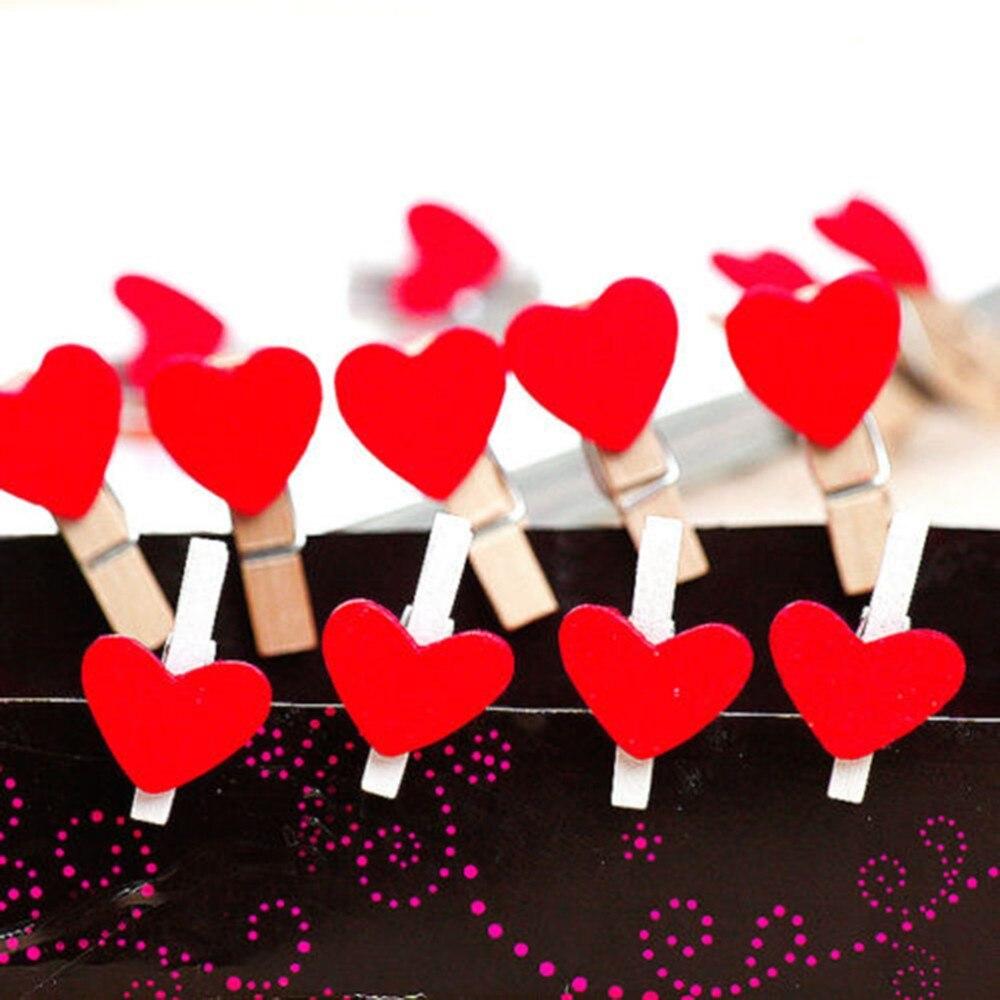 20 piezas Kawaii Mini amante rojo corazón en forma de Clips de madera notas libro Clips escuela Oficina Clip suministros papelería