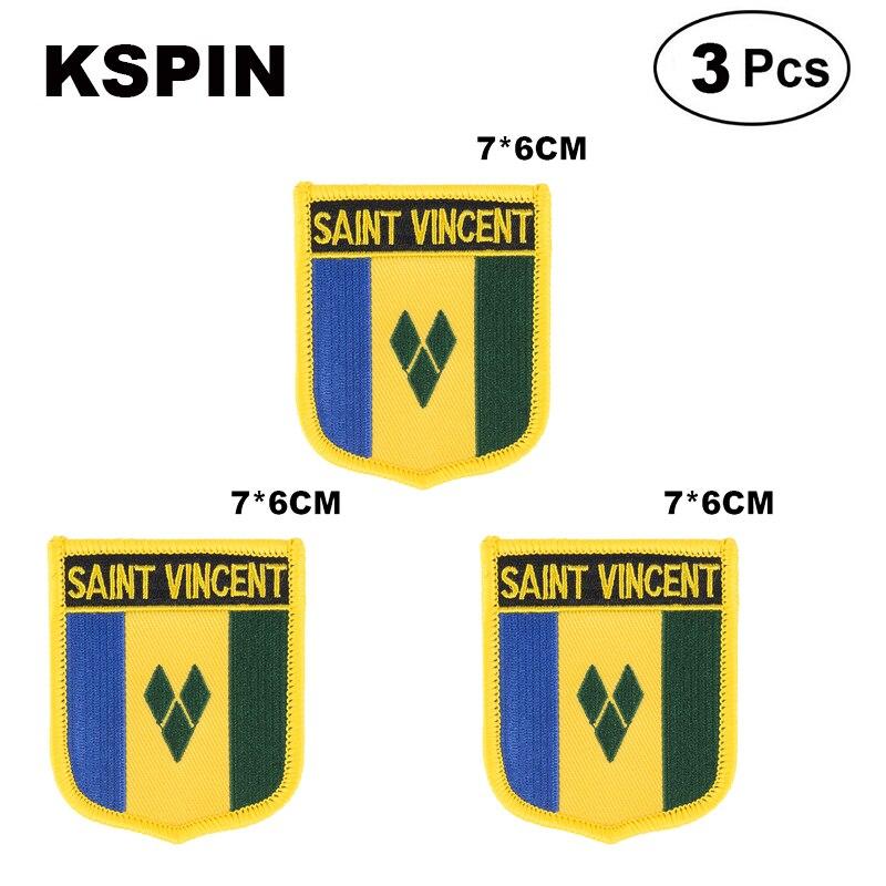Parches con forma de bandera de San Vincent, parches de bandera nacional...