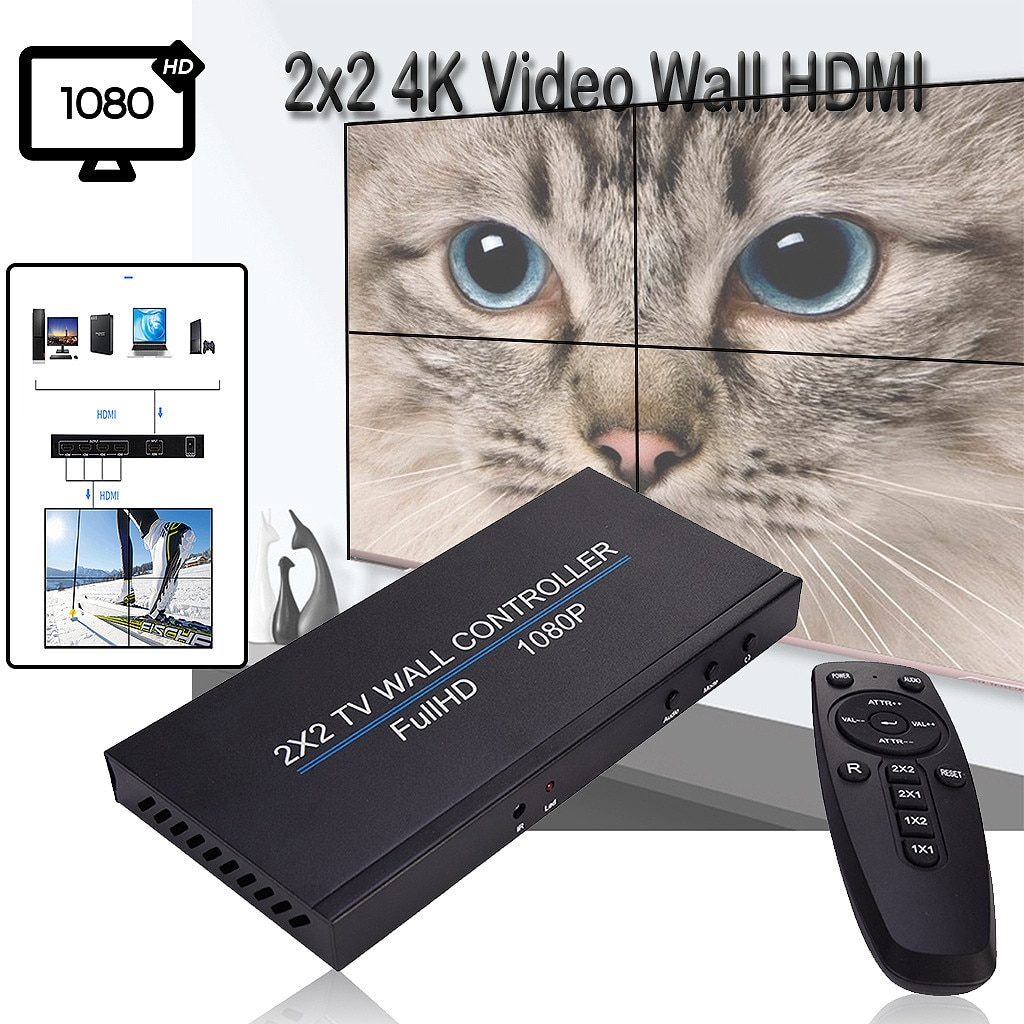 2X2 Video Wall Controller 1 HDMI Input 4 HDMI Output 2X1/3X1/4X1/1X2/1X3/1X4 TV Processor Images Stitching US UK EU Plug DE4