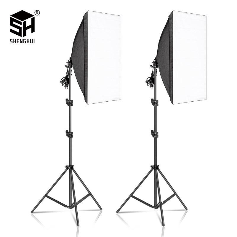 2 stücke 50x70CM Fotografie Softbox Beleuchtung Kits Professionelle Kontinuierliche Licht System Ausrüstung Für Foto Studio