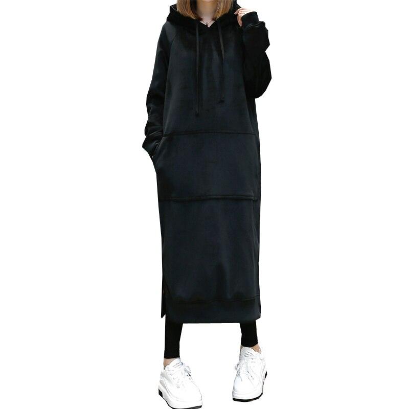 Caliente invierno alta calidad oro terciopelo con capucha vestidos bolsillo manga larga Casual vestido negro gris ropa deportiva otoño mujer ropa