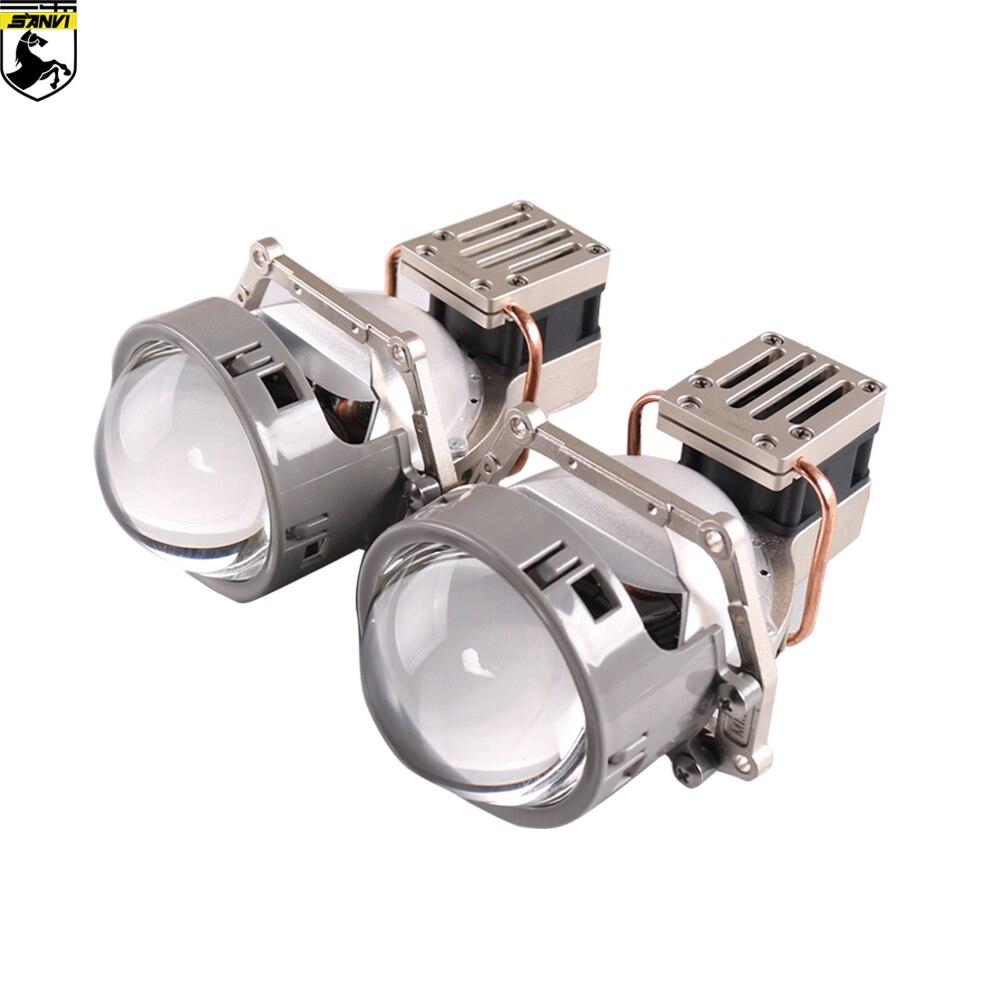 Sanvi ML 58W 5500k Auto Bi led & Farol lente do laser Com dupla Chipa refletor Duplo para Carro kits luz retrofit