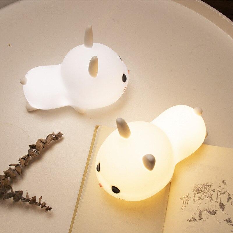 Novo coelho branco silicone nightlight carregamento quarto cabeceira cuidados com os olhos de enfermagem crianças com dormir noite patting mesa lam