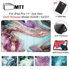 MTT 2020 étui en marbre pour iPad Pro 11 2nd génération souple en cuir polyuréthane pliable housse de support avec porte-crayon A2228 A2231