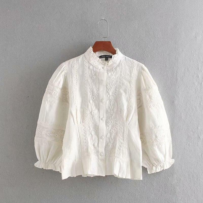 Otoño nuevo estilo occidental Stand Collar peng xiu bordado conjunto Tops camisa