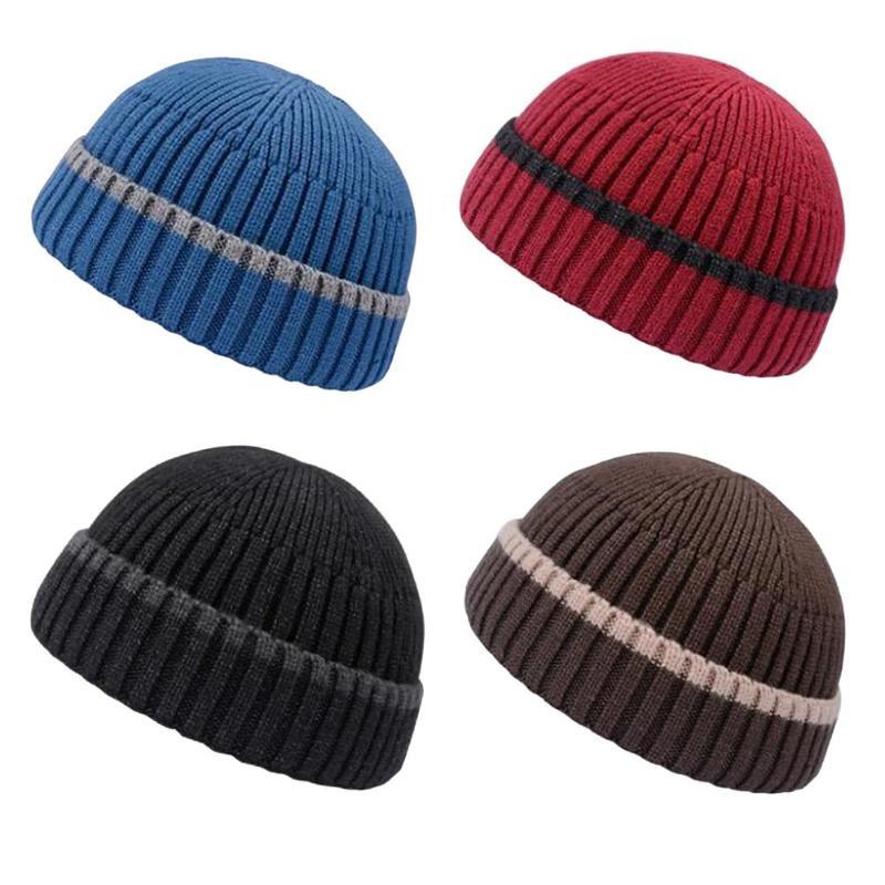 De invierno de punto para hombre sombrero gorra gorro para hombre gorra otoño invierno sin ala Hip Hop sombrero de pescador, sombrero de las mujeres