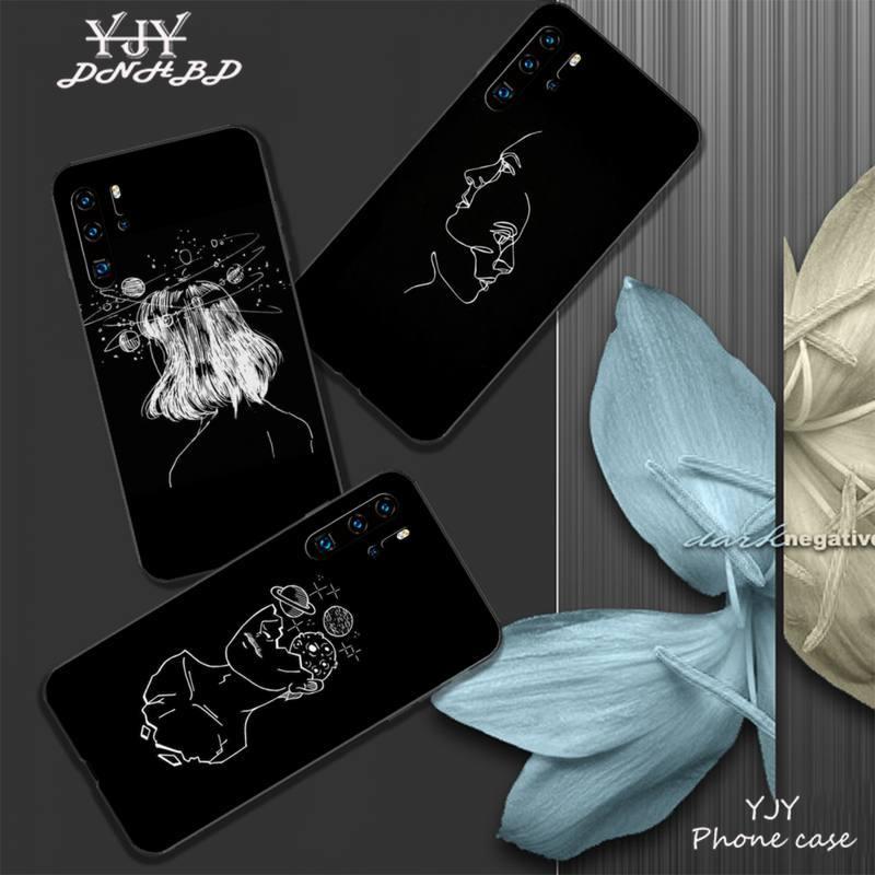 Funda de teléfono móvil con línea de fondo negra YJY para Huawei P9 lite 2016 2017 P 10 P20 PRO P30 P40 lite P smart 2019 coque
