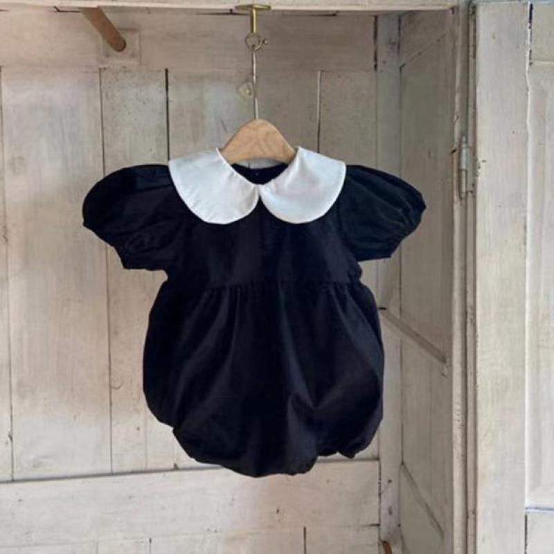 AliExpress - 2021 Summer New Baby Girl Bodysuit Puff Sleeve Princess Bodysuit Peter Pan Collar Tops Cute Newborn Little Girl Clothes