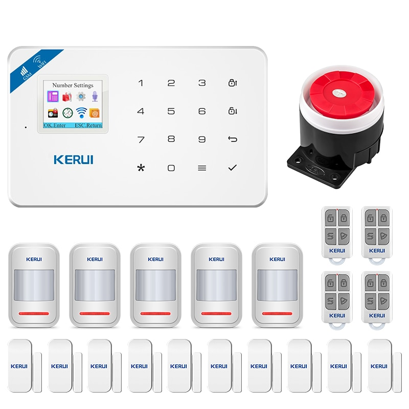 W18 WIFI GSM Security Alarm System Full Touch Keyboard APP Remote Control Home Security Anti-theft Motion Alarm System