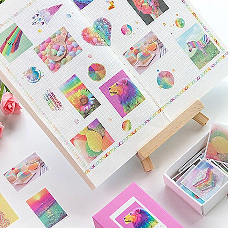 120 pçs/caixa bonito adesivos decorativos kawaii unicórnio papelaria adesivos de papel adesivo para crianças diy scrapbooking suprimentos