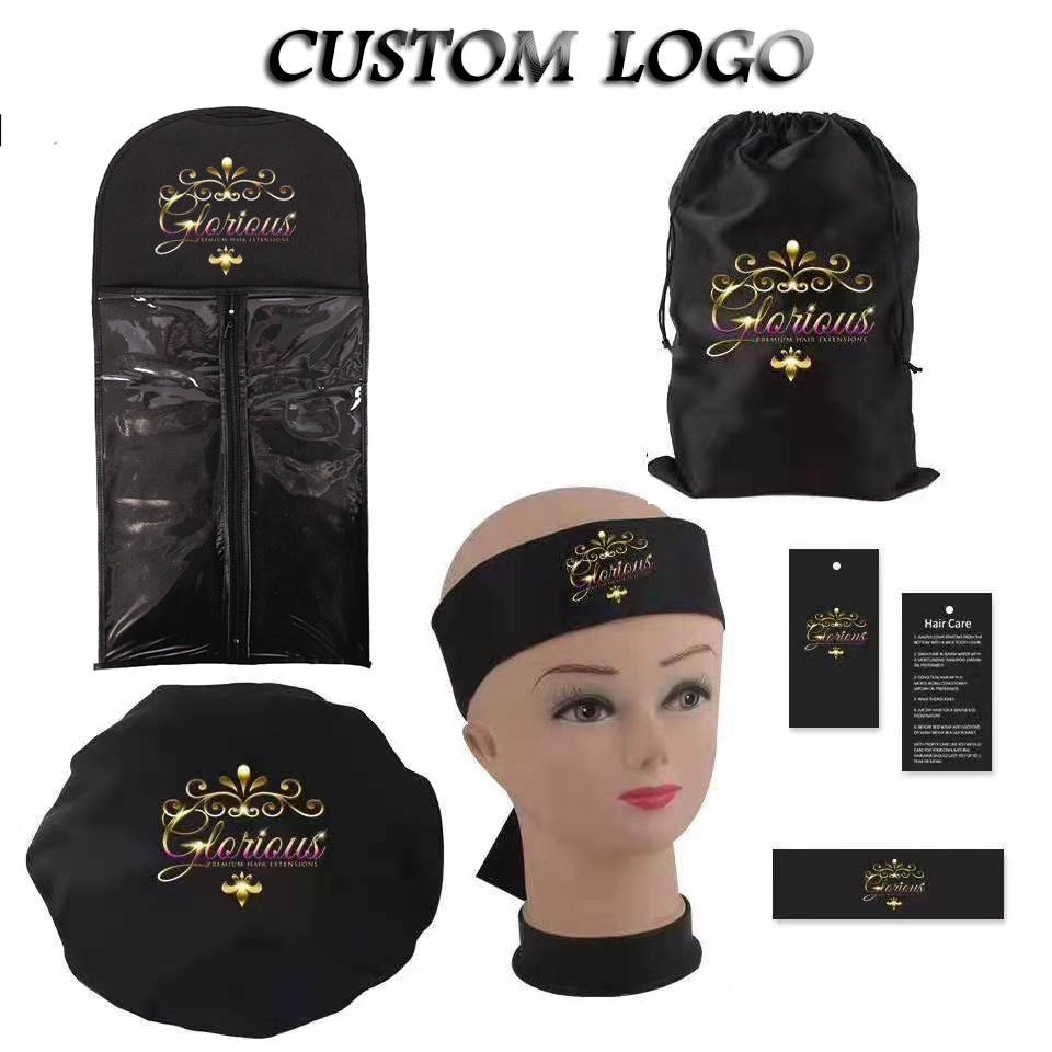 Custom Logo Wigs storage bag/Satin Bags/Hang Tag Sticker labels Wraps/Long Bonnets/Headband/Cape/Bonnet/wig elastic band