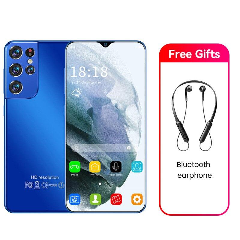S21 + Ultra 16GB + 512GB 6.7inch الهاتف الذكي 6500mAh أندرويد فتح هواتف محمولة 4G 5G 24MP + 48MP الهواتف المحمولة الرخيصة