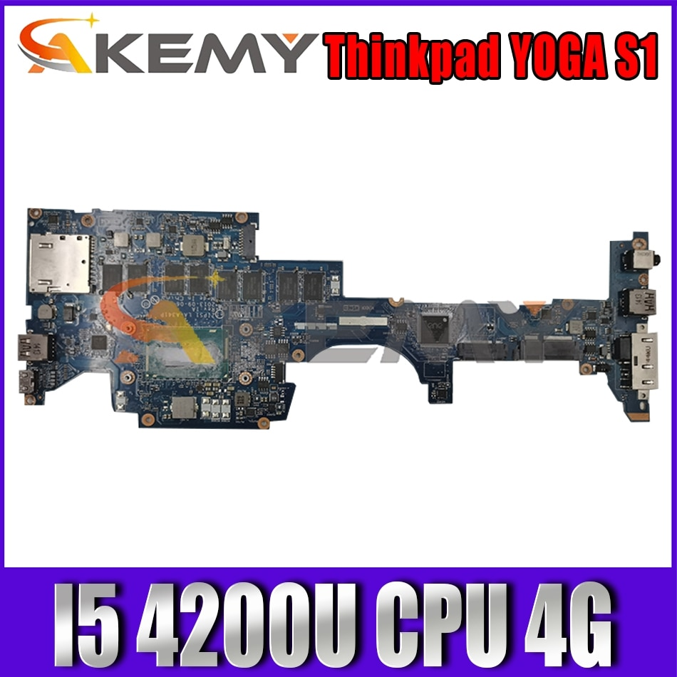Akemy ZIPS1 LA-A341P Motherboard For Lenovo Thinkpad YOGA S1 Laptop Motherboard CPU I5 4200U 4G RAM Work
