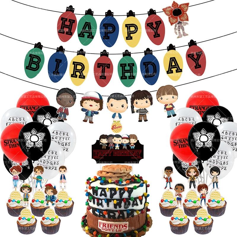 زينة الحفلات بطابع Stranger Things ، بالونات ، لافتة عيد ميلاد سعيد ، تزيين الكيك ، أحد عشر قطعة ، لوازم تزيين حفلات أعياد الميلاد