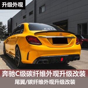 Fit for Benz C-Class W205 Spoiler C63 C180 C200 C220 C250 2015 2016 4-Door Car Black Carbon Fiber Rear Wing Spoiler
