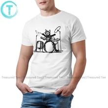 Katze T Shirt Drummer Cat T-Shirt Men Print Tee Shirt Fun Casual Big Size Cotton Short-Sleeve Tshirt