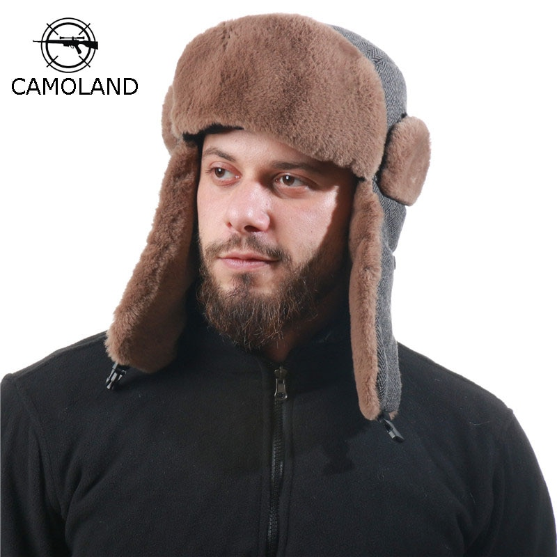 CAMOLAD Winter Striped Bomber Hats For Women Men Thermal Faux Fur Earflap Snow Ski Caps Outdoor Wind