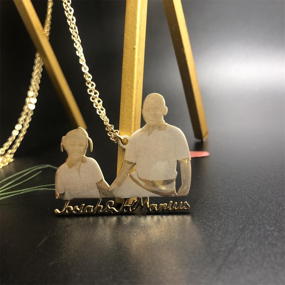 Персонализированное ожерелье с фото из нержавеющей стали с гравировкой фото имя Семья Любовь персонализированный Бар Фигаро фото подарки ...
