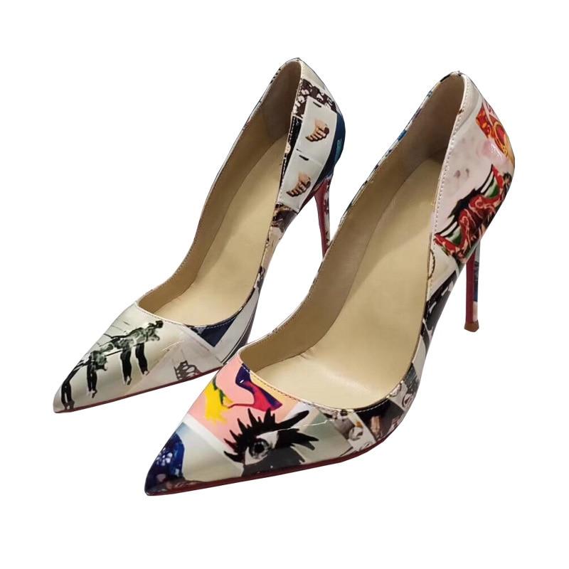 نعل داخلي من الجلد الطبيعي مع مقدمة مدببة وطبعة ملونة ، حذاء نسائي بكعب عالٍ ، للحفلات ، مقاس كبير 34-45