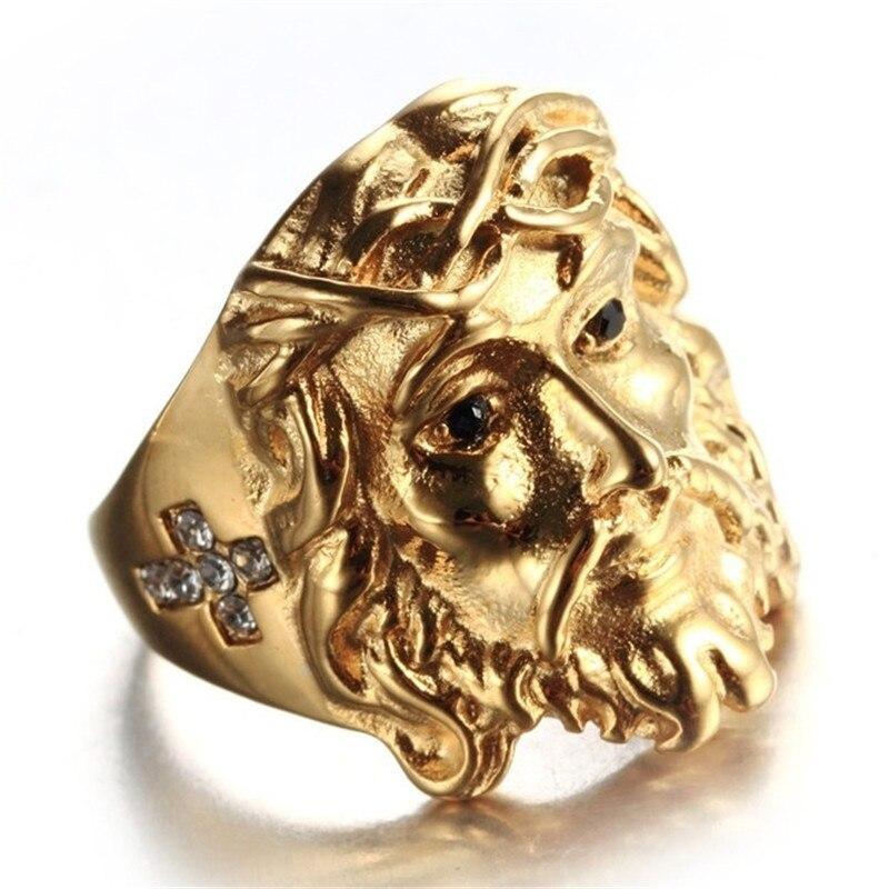 Anillos clásicos únicos de color dorado, cabeza de Jesús con incrustaciones de zirconia, anillos para hombre, joyería para fiestas