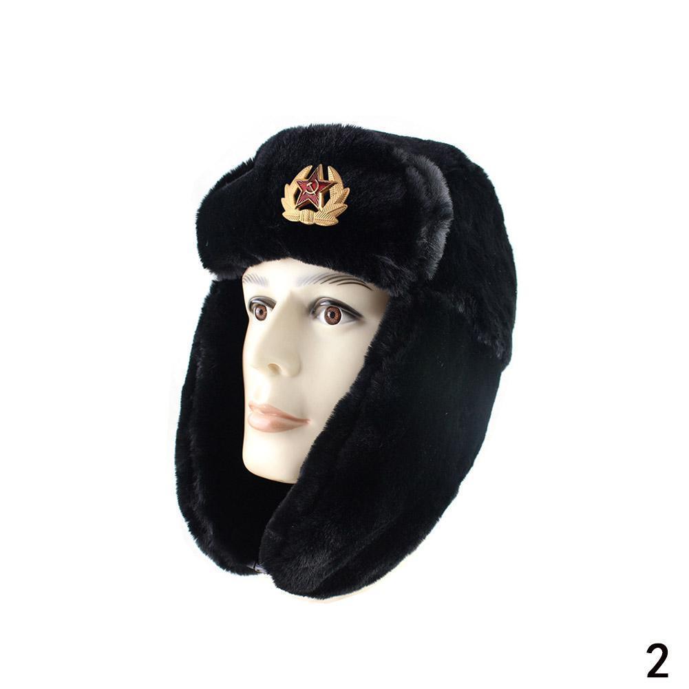 2020 insignia militar del ejército soviético Ushanka ruso gorra de cazador de invierno sombreros de mujer para hombres orejeras Faux gorros con pelo conejo Bom