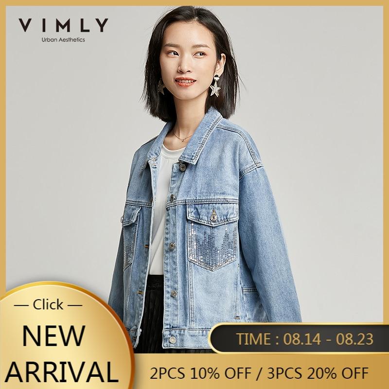 Vimly 2020 verão casual mulher denim jaqueta streetwear lapela single-breasted lantejoulas bolsos solto feminino curto jaquetas 70056