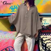 Haut à la mode Celmia femmes Vintage asymétrique Blouse à manches longues chauve-souris décontracté bureau travail dame chemises boutons lâches Blusas Femme 7