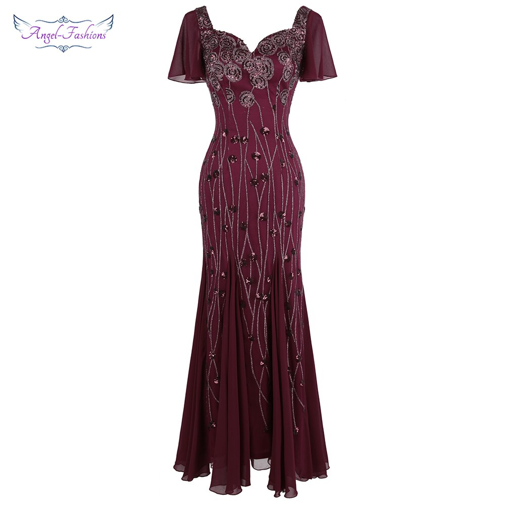 Angel-fashions فستان سهرة شيفون للنساء بأكمام قصيرة الملكة آن نمط ترتر طويل أنيق فستان سهرة شيفون عنابي 468