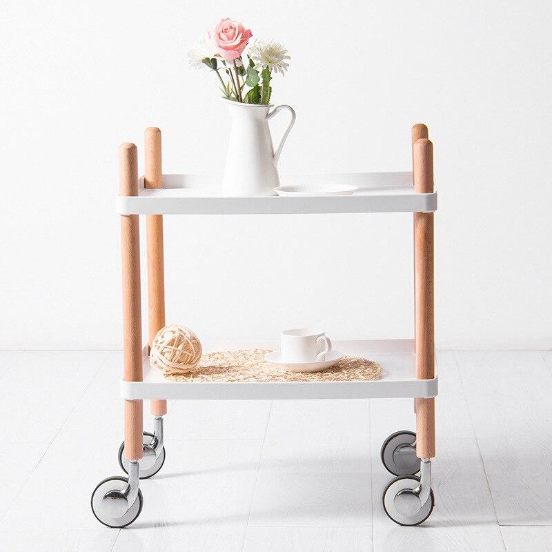 المحمول تخزين الرف الرف عربة طاولة القهوة غرفة نوم المطبخ تخزين عربة خشبية طبق رف منظم مطبخ والتخزين