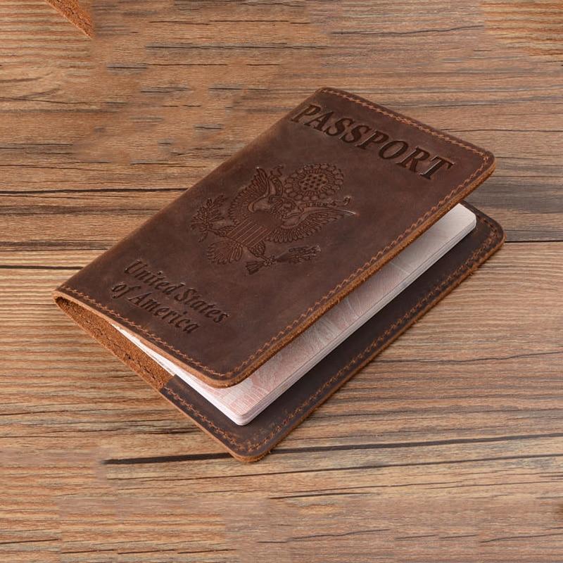 100% Genuine Leather Passport Cover USA Travel Men Genuine Leather  Cover The Passport America Passport Pouch недорого