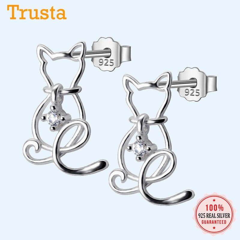 Trusta Authentische Minimalis 925 Sterling Silber Mode Hohl CZ Tier Katze Stud Ohrringe Für Frauen Hochzeit Schmuck Geschenk DS516