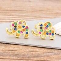 new fashion cute gold filled elephant stud earrings for women rainbow statement earrings charm copper cz stone jewelry gift