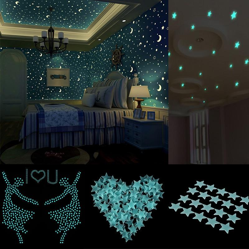 80 unidades por lote, pegatinas de pared brillantes para bebés, niños, dormitorio, decoración del hogar, colores brillantes, estrellas fluorescentes, 4 colores