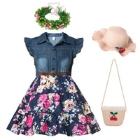 toddler baby girl dress sleeveless floral print clothing girls beach clothes denim belt princess dress dresses jyf