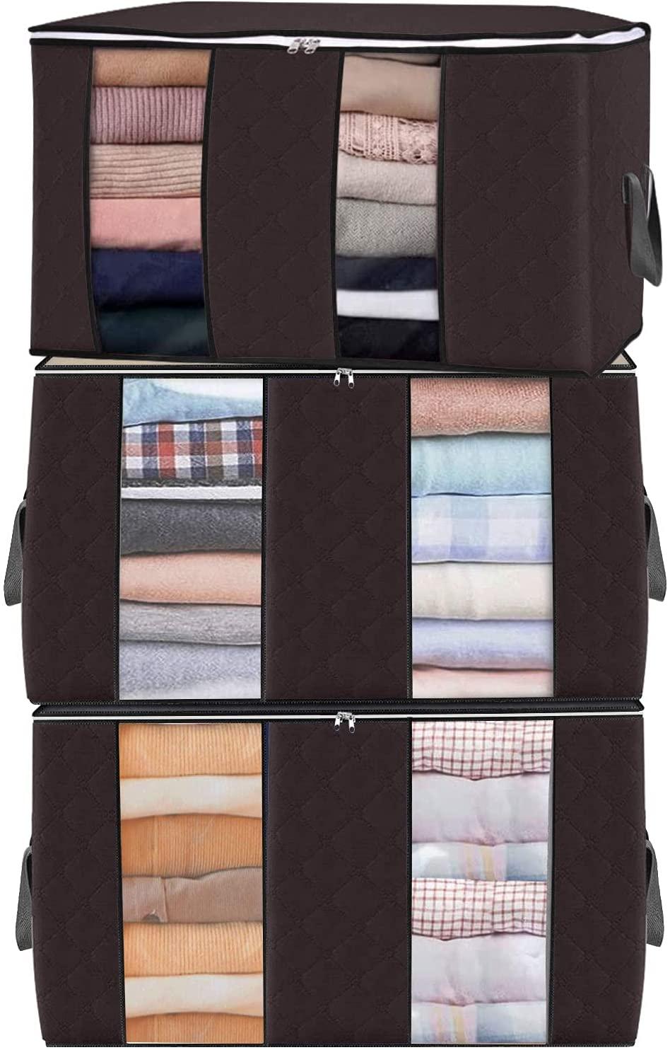 3 حزمة حقيبة التخزين الكبيرة ، طوي Underbed صندوق تخزين ملابس ، التخزين مع مقبض عززت ، Underbed حقيبة التخزين s للملابس