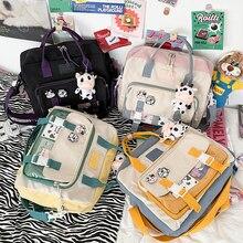 Women Cute Cow Backpack Female Student College Schoolbag Girl Badge Multifunctional Backpacks Kawaii