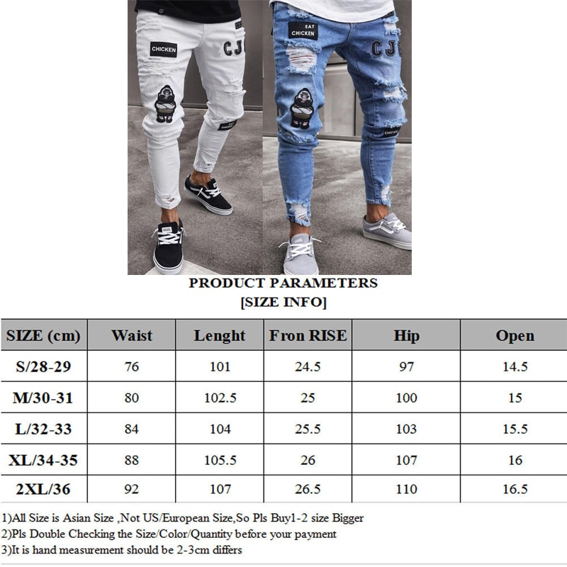 2021 New Men's Stretch Ripped Skinny Bicycle Embroidered Printed Jeans Broken Holes Recording Skinny Jeans