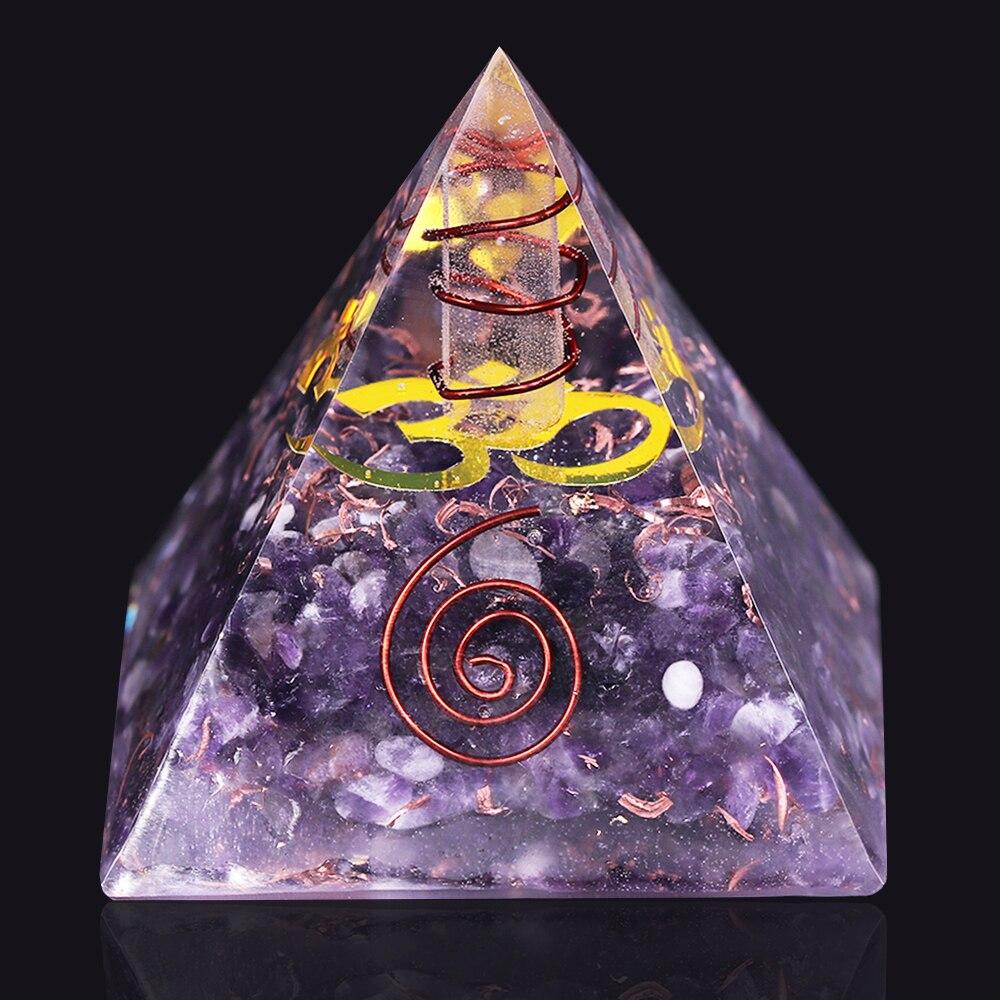 Amethyst Orgonite Pyramid Yoga Energy Decoration Pyramid Resin Craft Meditation Healing Generator