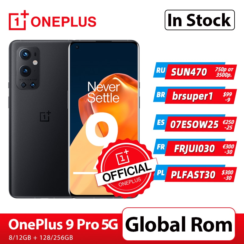 OnePlus 9 Pro 5G Smartphone 8GB 128GB Snapdragon 888 120Hz Fluid Display 2.0 Hasselblad 50MP Ultra-W