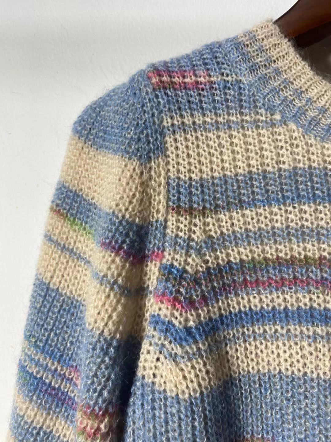 New Color Striped Mohair Knitted Age-reduced Pullover Girl In Autumn and Winter 2021 enlarge