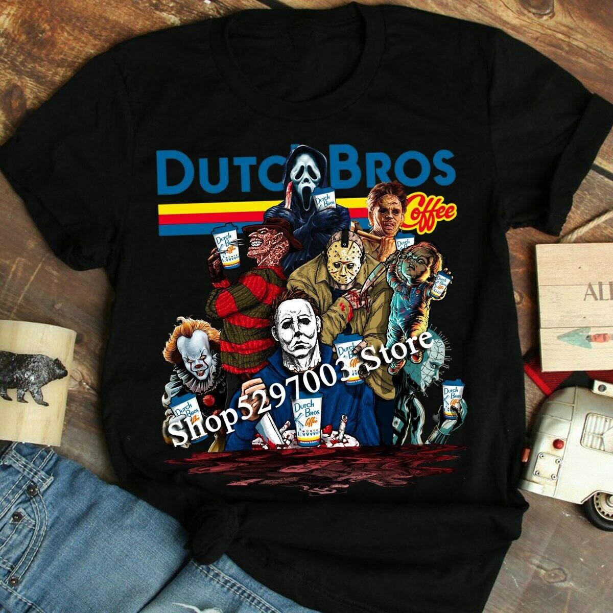Horror de Halloween holandés Bros café asesinos escuadrón camiseta de talla grande ropa camiseta