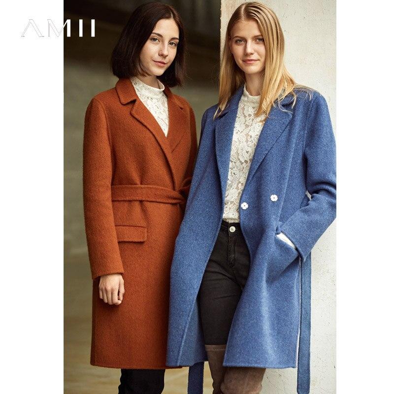 Amii minimalismo Otoño Invierno de alta calidad solapa abrigo de lana mujeres sólido cinturón abrigo doble abrigo de lana 11860078