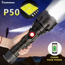 Super poderoso led lanterna xp50 lâmpada à prova dwaterproof água flash luz usb recarregável power bank tocha holofotes para acampamento