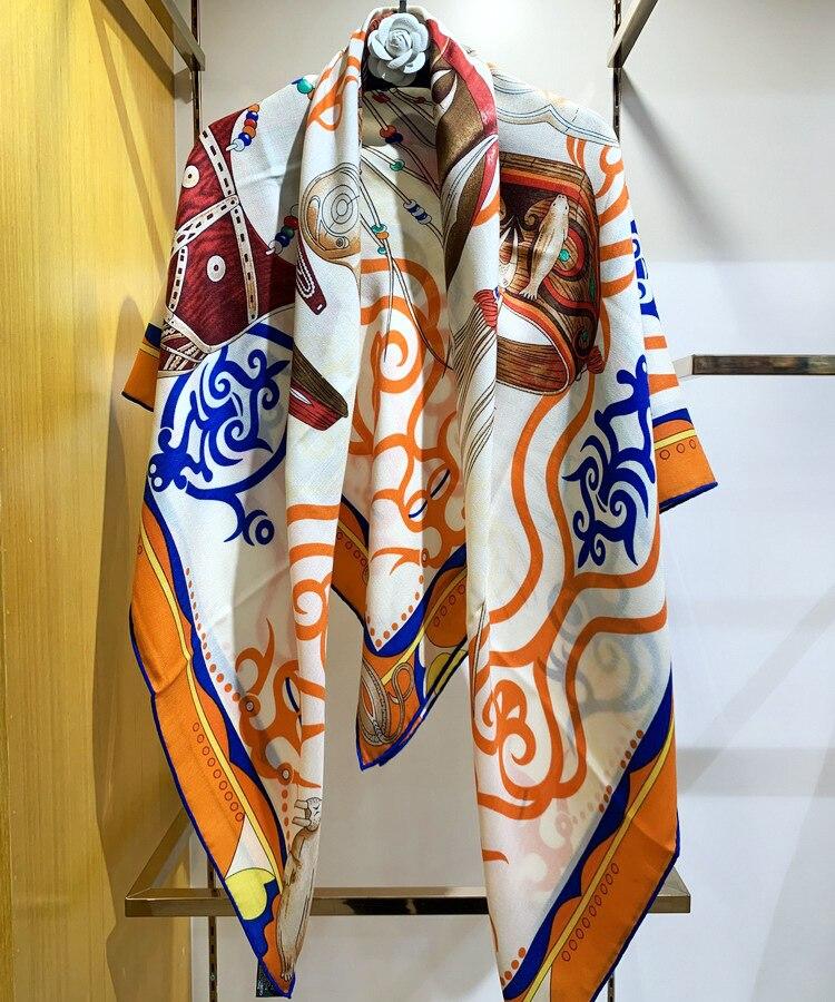 الفاخرة وشاح حريري الطبيعية النساء الحرير أوشحة كشميرية التفاف شال مربع 135 سنتيمتر باندانا سيدة هدية النمط الهندي