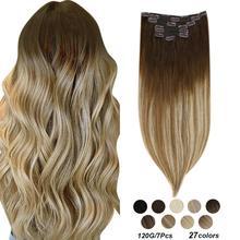 """[27 farben] Ugeat Clip in Haar Extensions 14-22 """"Menschenhaar Doppel Gezogen Remy Haar Volle kopf Clip in Extensions 120g/7Pcs Set"""