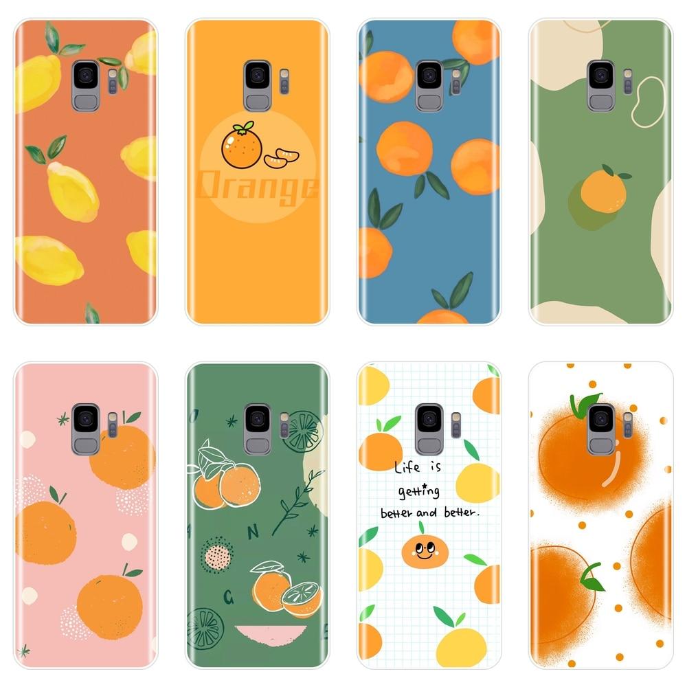 Laranja limão Caso de Telefone De Silicone Para Samsung Galaxy Note 4 5 8 9 Suave Tampa Traseira Para Samsung Galaxy S5 s6 S7 Borda S8 S9 Plus