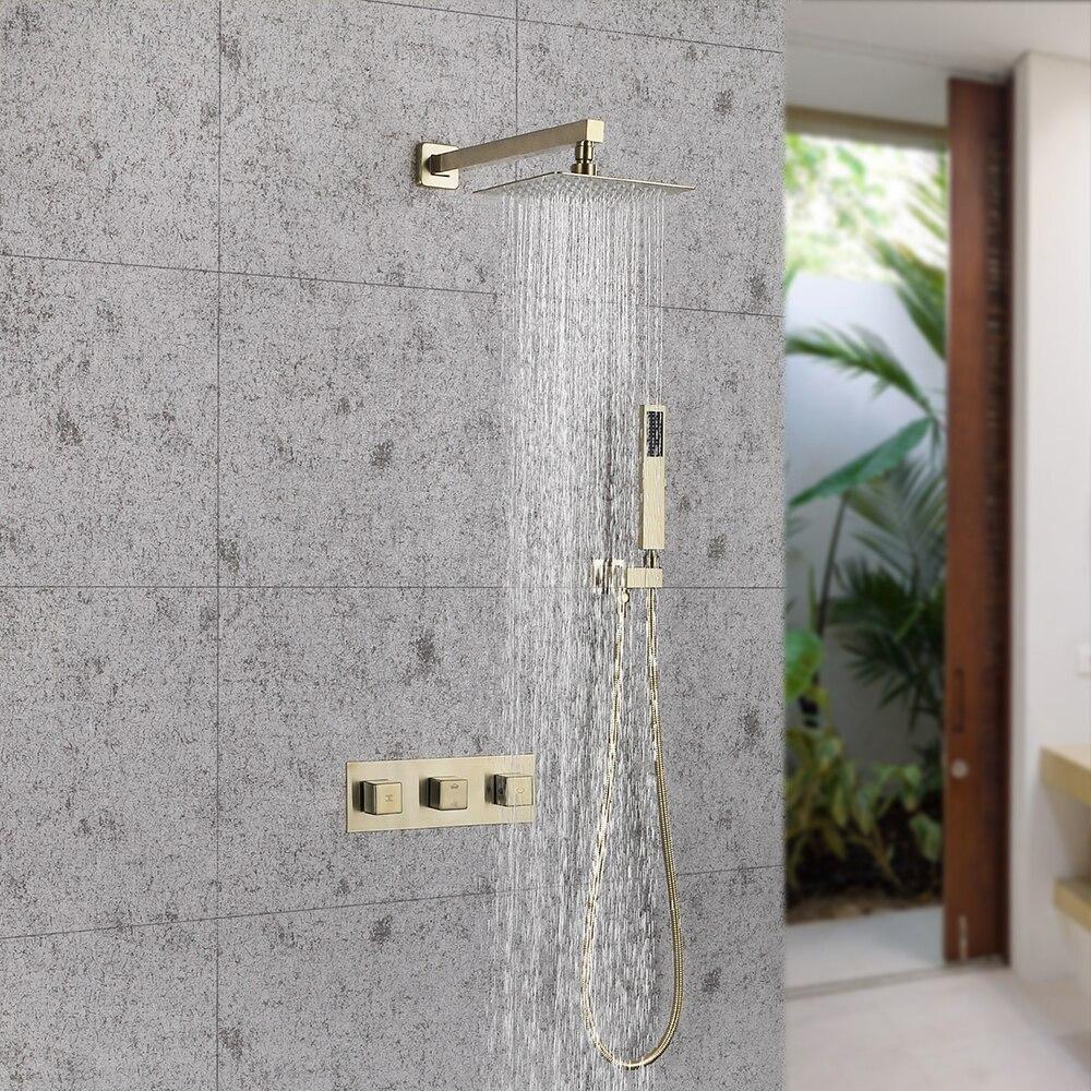 SKOWLL Brushed Gold Solid Brass Bathroom Shower Set 8 inch Shower Head Shower Faucet