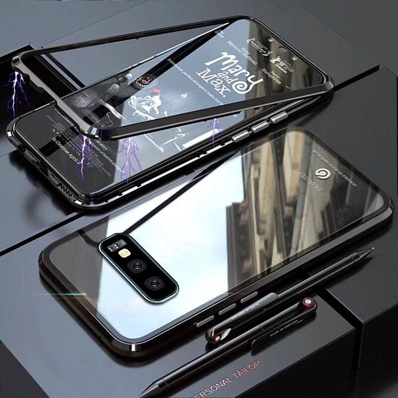 YonLinTan funda coque para Samsung galaxy S10 Lite Plus S 10 S10Lite Metal marco magnético de adsorción de fundas de vidrio templado